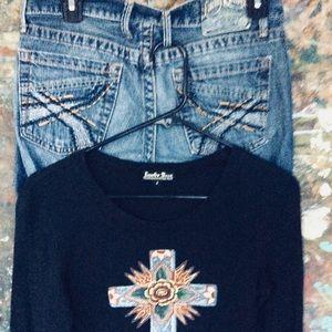 Lucky Brand Jeans SZ 4 CURRENT & Lucky Cross Top S